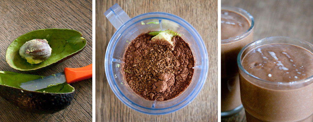 healthy smoothie recipes, for natural organic skincare from the inside out, avocado, cocoa, chocolate
